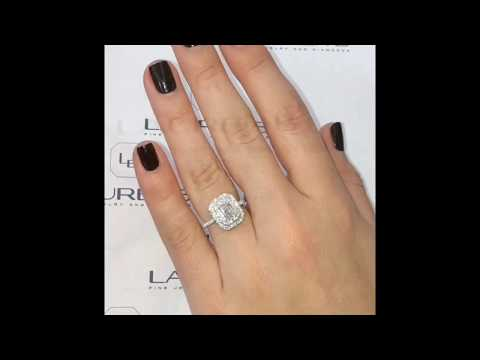 0.80ct Emerald Cut Diamond Halo Engagement Ring