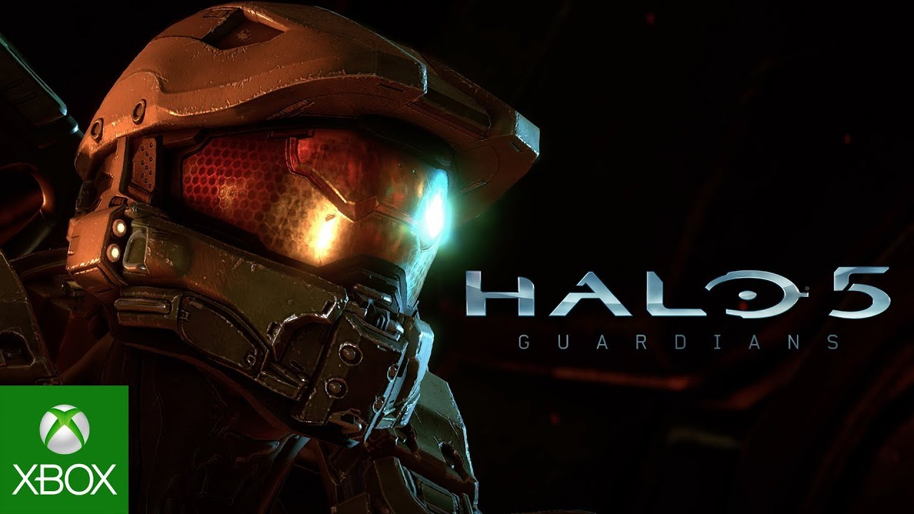 Front view of spartan helmet and Halo 5 Logo