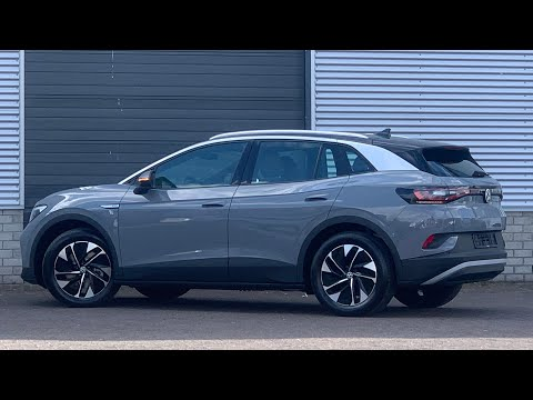 Volkswagen NEW ID4 Tech 2021 in 4K Moonstone Grey 19 inch Hamar walk arond & detail inside