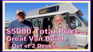 $5000 Tiny Home one Wheels (Hightop Van) Made with 2 Used Desks