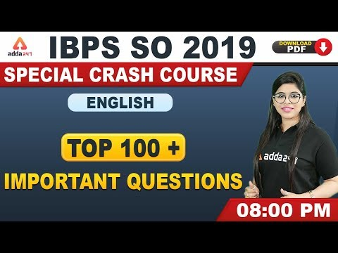 IBPS SO 2019 | English | Top 100+ Important Questions