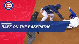Javy Baez avoids tags, shows smooth moves on bases