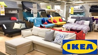 IKEA SLEEPER SOFAS FUTONS COUCHES HOME FURNITURE SHOP WITH ME SHOPPING STORE WALK THROUGH