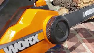 How to put the chain back on a worx electric chainsaw most popular worx 18 inch 15 amp electric chainsaw keyboard keysfo Images