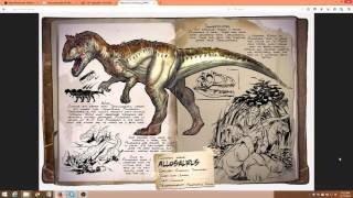 ARK: Survival Evolved Allosaurus Dossier the pack carnivore with bleed and slow effect.