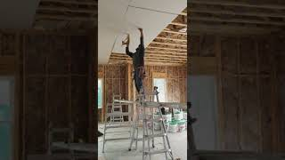 Hanging 4x12 5/8 drywall on ceiling by my self