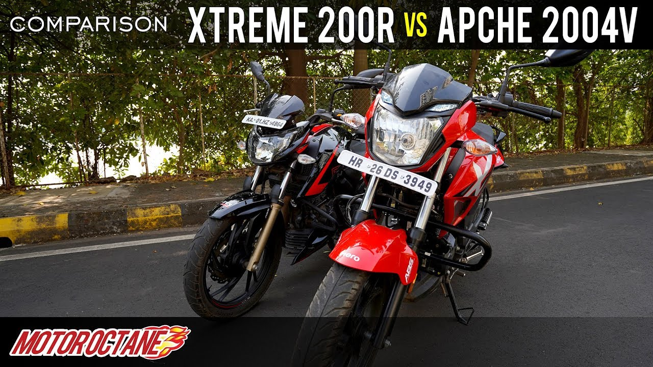 Motoroctane Youtube Video - TVS Apache 200 4V vs Hero Xtreme 200R Comparison | Hindi | MotorOctane