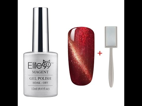 Elite99 3D Nail Gel Polish Magnetic Cat Eye Maroon With Gold Eye + Magnet Stick