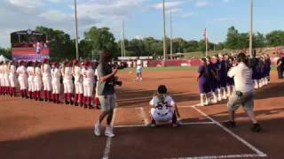 Jalen Hurts throws Alabama softball first pitch underhanded