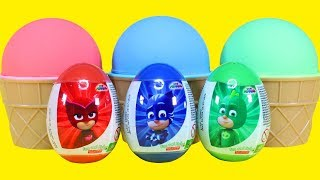 PJ Masks Surprise Eggs and Kinetic Sand Surprise Learn Colors with Catboy Gekko Owlette