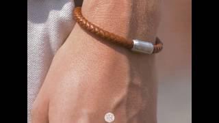 Sem Lewis Bakerloo Queen's Park leather bracelet cognac
