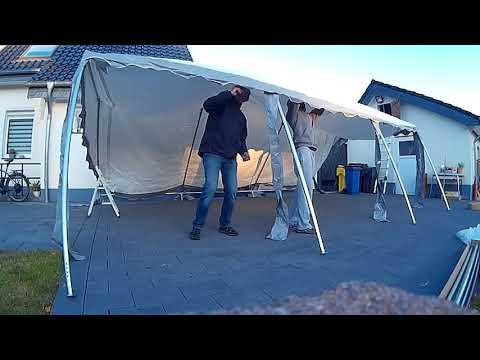 Aufbau 2 von 2 - Toolport 4x6 m Partyzelt, PVC-Plane 500 g/m², feuersicher grau-weiß
