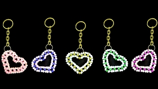How To Make Crystal Beaded Keychain || Valentine's day gift || ♥Heart Keychain♥ || You Can Do This