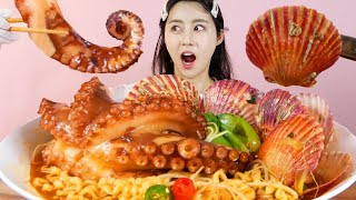 MUKBANG ASMR   Tasty! Spicy Octopus Scallops Ramen🍜Eat Seafood Korean Eatingshow Realsound 아라 Ara