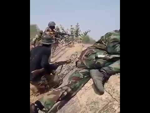 Troops of the Nigeria army in live gun battle with BH