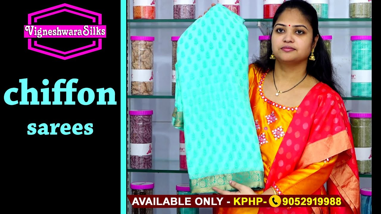 "<p style=""color: red"">Video : </p>Chiffon sarees 