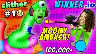 WINNER.IO HIGHEST SCORE EVER on Slither.io #10 Ruined by Paintball Gun Scare (FGTEEV 3x Win Diep.io)