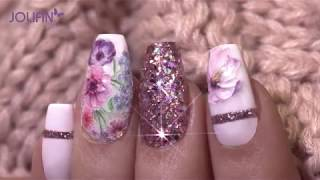 "Nailart: ""Glowing Flower Meadow"" Mit Jolifin 3D Tattoo - Nr. 1 & Jolifin LAVENI Diamond Dust"