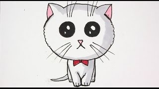 Come disegnare un gatto kawaii videos for Disegno gatto facile