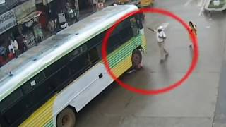 Great Escape | Immediate Response by Police | Bus Vs Cyclist Accident | Tirupati Traffic Police