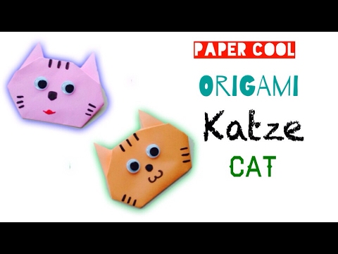 Origami: Katze falten mit Papier/  Einfachen Katze Basteln mit Kindern - ★DIY★ Origami Tiere