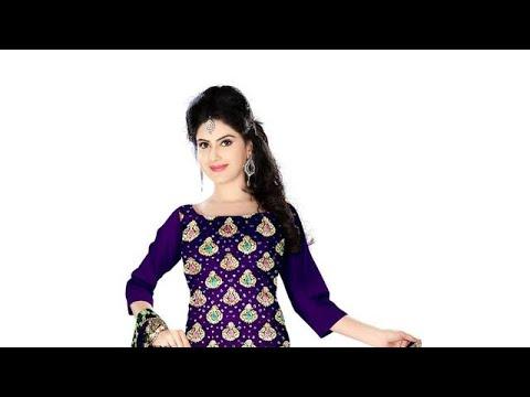 Purple And Orange Color Fancy Design Gadhwal Bandhani Dress Material