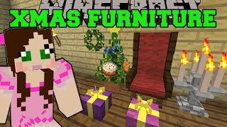Minecraft: CHRISTMAS FURNITURE (GRAND CHAIR, WREATH, LIGHTS, TREE, & GIFTS) Mod Showcase