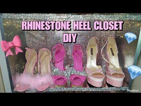 DIY : CRYSTAL BLING WALK IN CLOSET HEEL SHELF | IKEA BOOKCASE HACK | GLAM & GIRLY SHOE TOUR