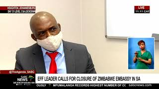 EFF leader Julius Malema has called for the closure of Zimbabwe's Embassy in South Africa until the human rights' situation in that country has been addressed.  In a tweet, Malema said failure to close the embassy would result in the EFF preventing any Zimbabwean government official from participating in any gathering in South Africa.  Zimbabwe has been wracked by anti-government protests against soaring inflation, corruption and poor governance. Workers in the healthcare sector have also gone on strike as the number of COVID-19 patients grows. For  more on this story let's cross live to SABC political reporter Samkele Maseko who is with EFF head of international relations Godrich Gardee.  For more news, visit sabcnews.com and also #SABCNews, #Coronavirus, #COVID19, #COVID-19News on Social Media.