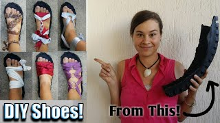 Minimalist Shoes!  DIY Convertible Shoes Made From Motorbike Tires & Paracord. Part 1