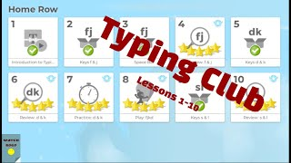 Typing Club Lessons #1 - #10