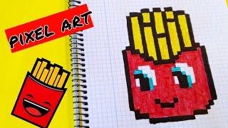 Draw Handmade Pixel Art- Como dibujar Patatas fritas Kawaii