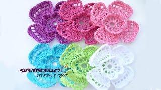 🌺DIY Crochet 3D Flower// КАК связать объемный цветок крючком со схемой🌺