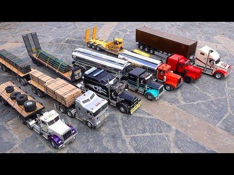 7 Truck Semi Convoy Rolls through a City - 1/14th scale   RC ADVENTURES