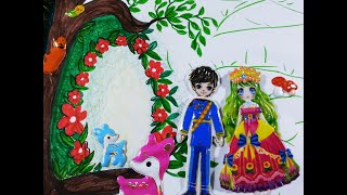 Sticker nhà tạo mẫu câu chuyện Công chúa rừng xanh/Vẽ ngôi nhà xinh đẹp trên cây
