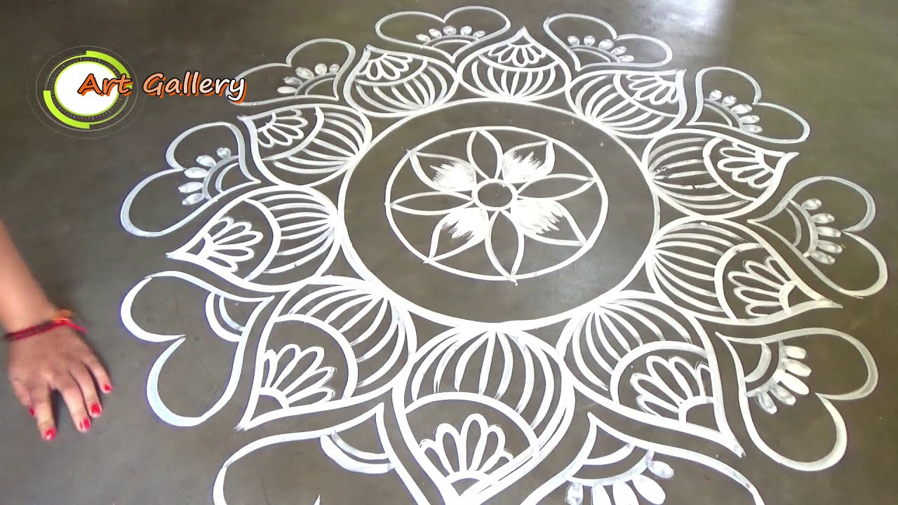 beautiful and big alpana rangoli design