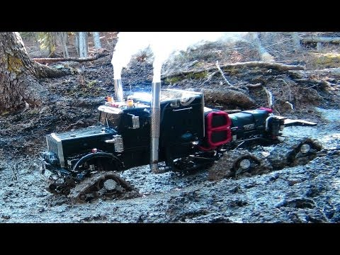 "RC ADVENTURES - Muddy Tracked Semi-Truck 6X6X6 HD OVERKiLL & 4X4 ""BEAST"" MT On The Trail"