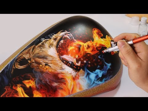 Painting Lion Fire - Airbrush Real Fire / Rafa Fonseca