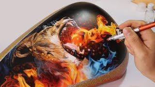 Painting Lion Fire - Airbrush Real Fire / Rafa Fonseca