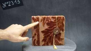 N°2313 - Carnet velours et bouton de cuir poli