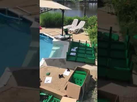 Pool Docks Crane Quadro Aqua pool platform time lapse assembly