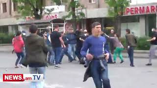 Էրեբունիում դիմակավորված անձինք հարձակվեցին եւ ծեծեցին ցուցարարներին