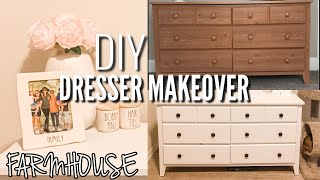 DIY DRESSER MAKEOVER ON A BUDGET 2020 | FARMHOUSE CHALK PAINT | HOW TO REFINISH A LAMINATE SURFACE