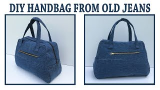 DIY JEANS PURSE BAG ZIPPER HANDBAG FROM OLD JEANS/BOLSA DIY/COUDRE UN SAC/Bolsa De Bricolaje