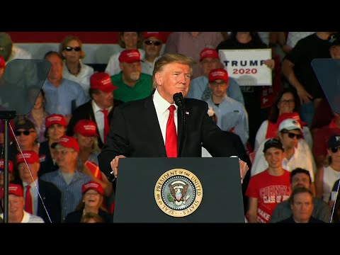 President Donald Trump, at a rally in Pennsylvania, criticized Fox News' for hosting town hall meetings with Democratic presidential candidates. (May 21)