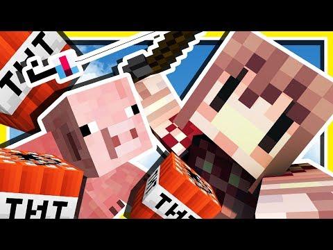 Minecraft 超可愛 !! 用釣竿從水裡釣小豬!!