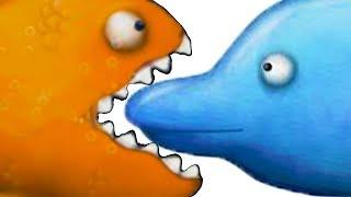 Приключение маленькой ГОЛОДНОЙ РЫБЫ Съешь все подряд #3 мультик игра Tasty Blue КРУТИЛКИНЫ