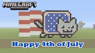 Minecraft: Pixel Art Tutorial And Showcase: 4th Of July Nyan Cat  (Independence Day