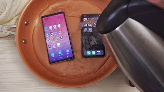 Note 9 vs iPhone X HOT Water Test! 🔥