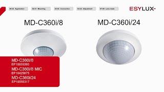 Montage & Installation: Bewegungsmelder l MD-C360i/8, MD-C360i/8 MIC und MD-C 360i/24